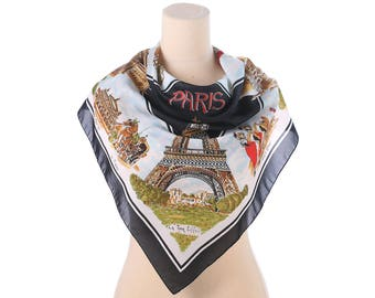 Vintage 70s Geographical Souvenis Scarf from Paris with Moulin Rouge Eiffel Tower Illustration Black Red Brown
