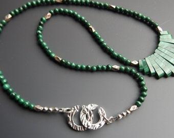 Malachite Bib Necklace with Fine Silver Puzzle Clasp