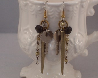 Diary Key Shoe Button Multi-Dangle repurposed found object assemblage earrings by ceeceedesigns on etsy