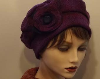 Magenta, Plum Harris Tweed Cloche Tam