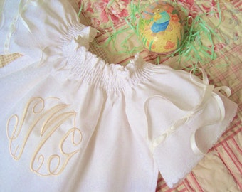 First Easter Baby Monogrammed Ivory White Blush Angel Wing Dress Size Newborn to 2 years Juvie Moon Designs Custom Boutique