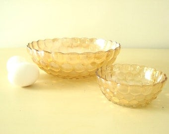 """Fire-King Peach Lustre """"Bubble"""" or """"Bullseye"""" serving bowl set, Anchor Hocking, vintage kitchen and dining, mid-century glassware"""
