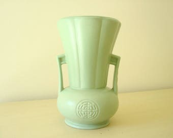 Jade green Abingdon Pottery vase, matte green glaze, two-handle, 1940s Art Deco home decor, gift for mom, shabby cottage, Oriental motif