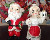 Vintage Santa and Mrs Claus Candle Holders Made in Japan by Commodore