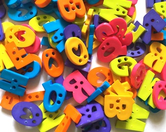 50 pcs Assorted A B C Letter alphabets buttons 2 holes for sewing crafts mix neon color
