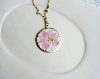 Pink Larkspur Necklace, Real Flower Necklace, Pressed Flower Necklace, Botanical Necklace, Floral Jewelry