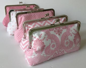 Pink Bridesmaid Clutch Gift Set of Five  Spring Wedding Accessory, Custom Clutch Set, Wedding Party Purse