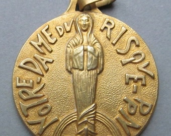 On Sale Virgin Mary Notre Dame Du Risque Vintage Modernist Religious Medal Pendant SS19