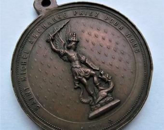 Antique Saint Michael The Archangel French Religious Medal Catholic Pendant   SS 105