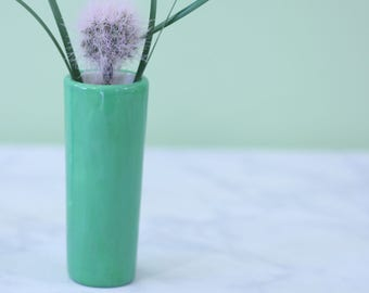 Bright Green Bud Vase - Pantone Color of Year - Ceramic Home Decor