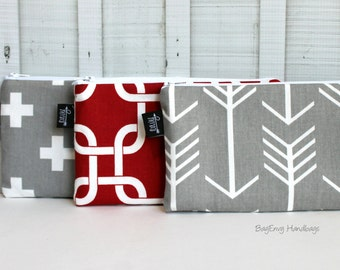 BagEnvy Handbags - Zippered Clutch / Pouch - Make Up Bag -  Choose Your Fabric - Arrows - Links- Swiss Cross