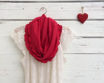 Red Scarf, Valentines Gift, Infinity Scarf, Circle Scarf, Gift for Her, Red Infinity Scarf, Valentines Day Gift, Gift for Wife