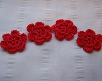 Flower crochet motif 1.5 inch cotton set of 4