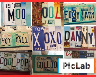 Custom license tag signs- 6 letters or characters