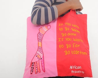 Tote bag canvas bag market bag shopping bag fabric tote bag cotton African proverbs hand embroidered tote shopping tote farmers market bag