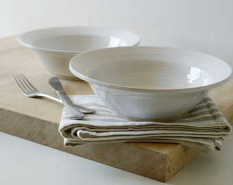 SECONDS SALE - Set of two stoneware pottery pasta bowls in brilliant white