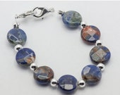 ON SALE Blue Sodalite Faceted Coin Stretchy Interchangeable Watch Band - M, Xxl - Wb00311