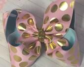 "BIG Super Ultimate Extra Large 3"" Ribbon Baby Pink, Aqua Blue Gold Polka Dot Metallic Sequin OOAK Hair Bow - M2M Matilda Jane Bling"