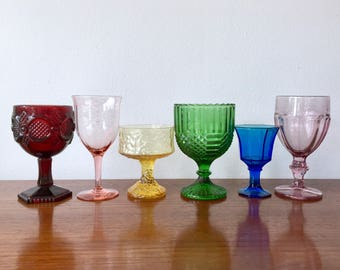 Rainbow Glass Goblet Set of 6 - Vintage Colored Glass Set - Serving for 6 Rainbow Glasses