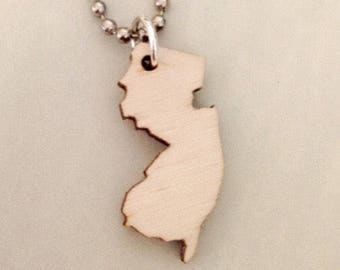 Wooden New Jersey Necklace, State Necklace, Lasercut Wood NJ Jewelry