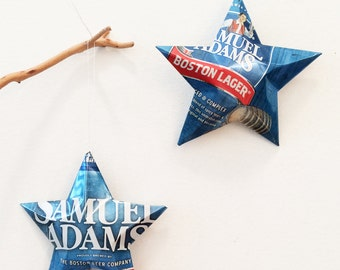 Samuel Adams  Boston Lager Beer Stars, Christmas Ornaments, Upcycled Aluminum Can, Recycled, Boston Beer Company, Sam Adams