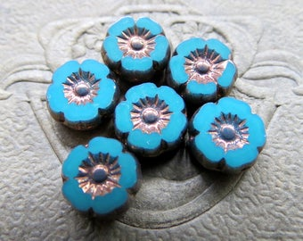 NEW Bronzed TURQUOISE BLOSSOMS . Czech Metallic Glass Flower Beads . 9 mm (10 beads)