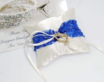 Dog Ring Bearer ~ Engagement Pillow Rhinestone Collar  ~ Royal Blue Sequin ~ Crystal Buckle