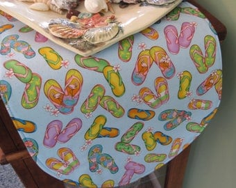 "Flip Flop Table Runner 36"" Reversible Beach Table Runner Flip Flop Table Runner Reversible Nautical Table Runner Summer Beach Table Runner"