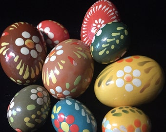 9 Hand Painted Wooden Easter Eggs