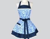 Ruffled Retro Apron , Retro Blue and White Large Floral Vintage Style Kitchen Cooking Apron Ideal to Personalize or Monogram as a Gift