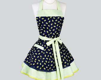 Ruffle Retro Woman Apron - Cute Lime Green and Navy Blue Bandanna Sexy Vintage Style Full Kitchen Aprons Personalize or Monogram as Gifts
