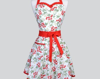 Sweetheart Retro Woman Apron - Cute Red and White Cherries Jubilee Full Vintage Full Pinup Kitchen Hostess Aprons
