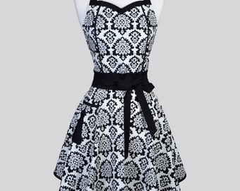 Sweetheart Retro Apron , Black and Linen Elegant Damask Womens Vintage Style Full Kitchen Cooking Hostess Apron