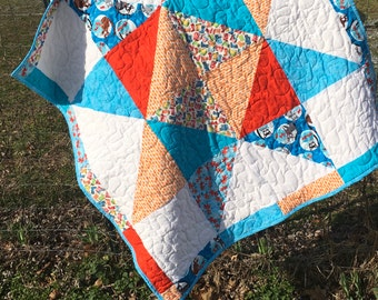 "Big Star Baby Quilt 40"" x 40"" Fun Fabrics Goldfish and Rainboots"