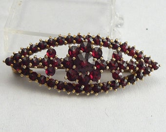Victorian Garnet Brooch Tiered Red Stone Pin Vintage