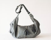 Wool cross body bag with black leather, crossover bag slouchy messenger purse everyday- Crossbody Kallia bag