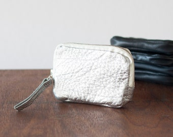 Zipper phone case silver coated leather, coin purse zipper phone case money bag credit card purse- The Myrto Zipper pouch