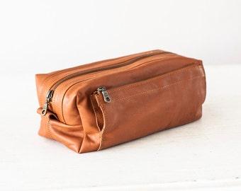 Brown travel storage kit, travel case accessory case toiletry storage organizer shaving kit case - Skiron travel case