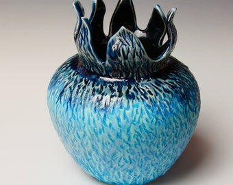 Unique Turquoise Vase, Carved Porcelain Pottery