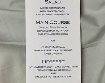 Nautical wedding menus, sailboat wedding, reception menu