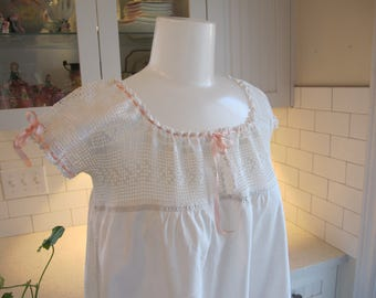 1920's Nightgown White Cotton Unused Hand Crocheted Lace Yoke Pink Silk Ribbon