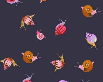 Windham Fabrics - Sleeping Porch Collection - COTTON LAWN Sleeping Snails in Indigo