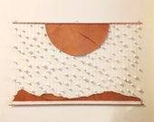 Custom order for Laura - Wall hanging - leather and clay - down up - by Soledad Proaño