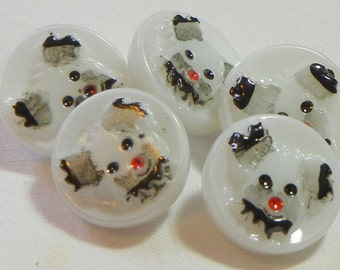 Tiny Puppy Dog Czech Glass Buttons (5)