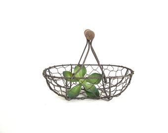 Farmhouse Basket, Vintage Inspired Wire Handle Basket for Craft Projects / Flowergirl Rustic Wedding Basket / Succulent Basket