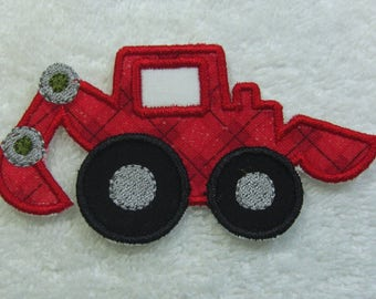 Backhoe Construction Truck Fabric Embroidered Iron on Applique Patch Ready to Ship