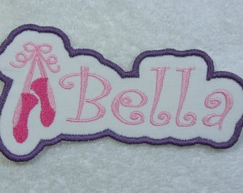 Ballet Name Patch Personalized Single Name Patch Fabric Embroidered Iron On Applique Patch MADE TO ORDER