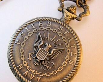 XMAS SALE Vintage US Navy Pocket Watch & Chain Necklace Costume Jewelry Jewellery