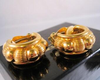 Joan Rivers Gold Hoop Clip On Earrings with Original Box Vintage Costume Jewelry Jewellery