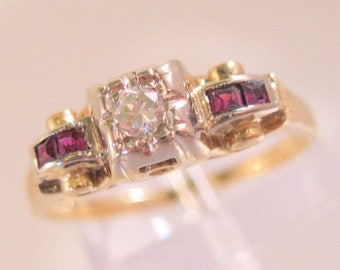 SALE ON Ends 4/30 1930's Art Deco Vintage 14k YG Diamond & Ruby Engagement Ring Size 6.5 Fine Jewelry Jewellery